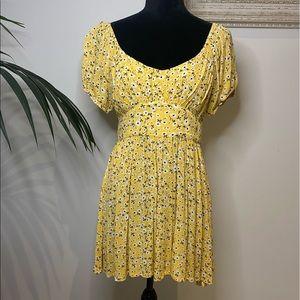 Mooloola Bright Yellow Floral Mini Dress Size 10